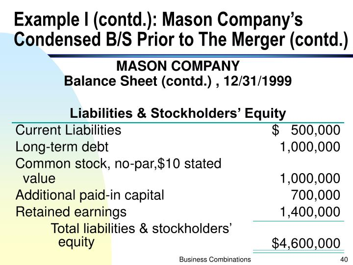 Example I (contd.): Mason Company's Condensed B/S Prior to The Merger (contd.)