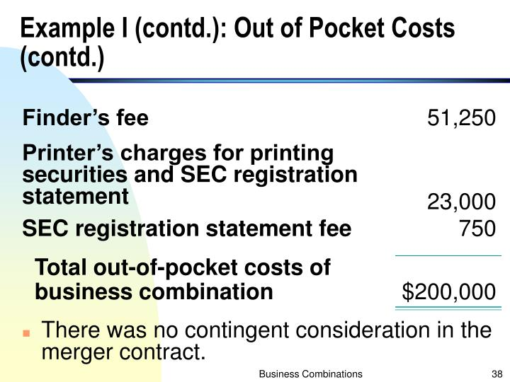 Example I (contd.): Out of Pocket Costs (contd.)
