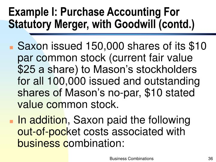 Example I: Purchase Accounting For Statutory Merger, with Goodwill (contd.)
