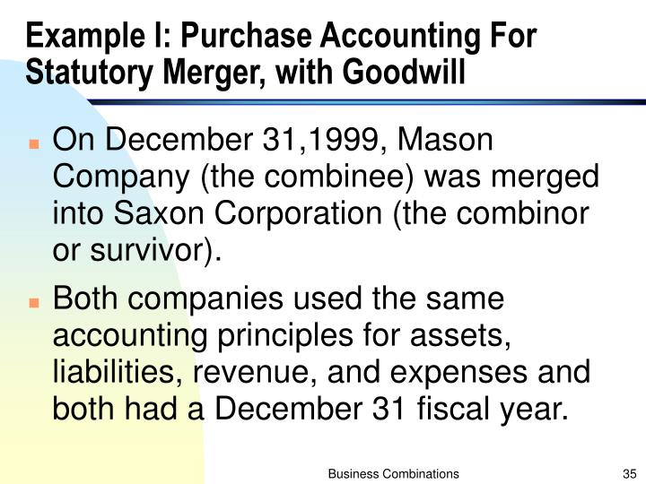Example I: Purchase Accounting For Statutory Merger, with Goodwill