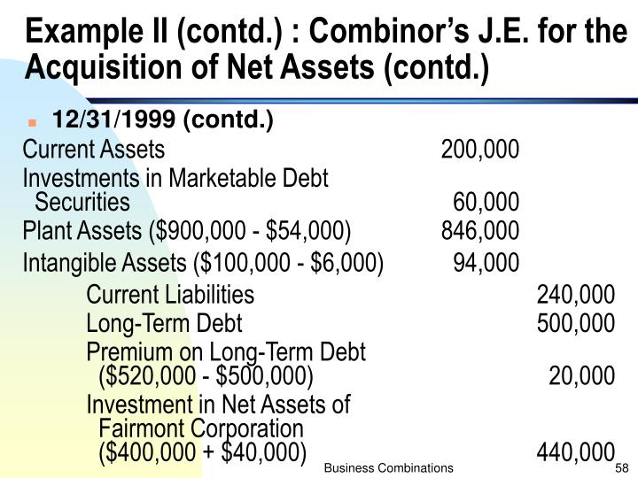 Example II (contd.) : Combinor's J.E. for the Acquisition of Net Assets (contd.)