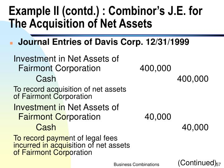 Example II (contd.) : Combinor's J.E. for The Acquisition of Net Assets