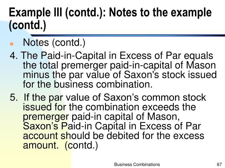 Example III (contd.): Notes to the example (contd.)