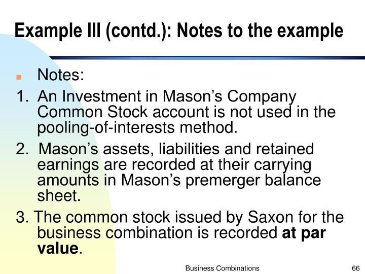 Example III (contd.): Notes to the example