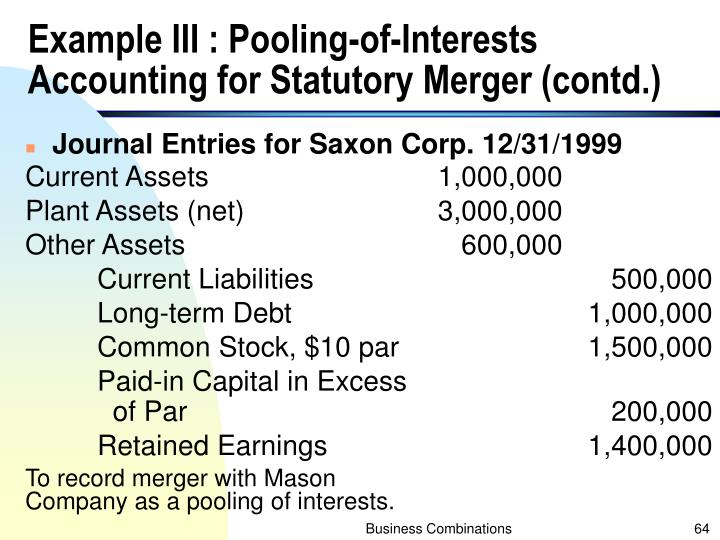 Example III : Pooling-of-Interests Accounting for Statutory Merger (contd.)