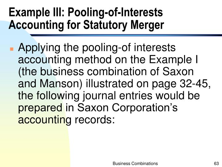 Example III: Pooling-of-Interests Accounting for Statutory Merger