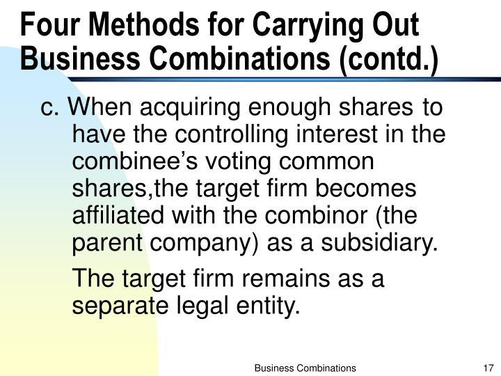 Four Methods for Carrying Out Business Combinations (contd.)