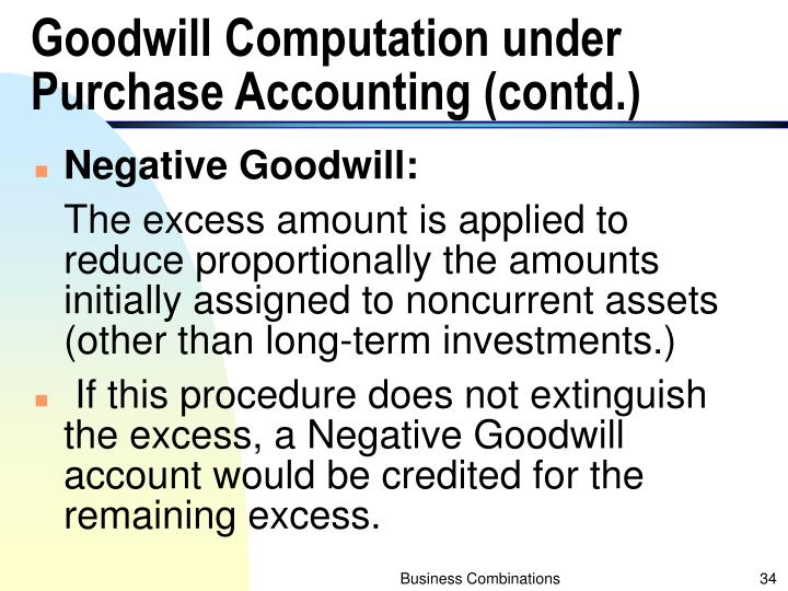 Goodwill Computation under Purchase Accounting (contd.)
