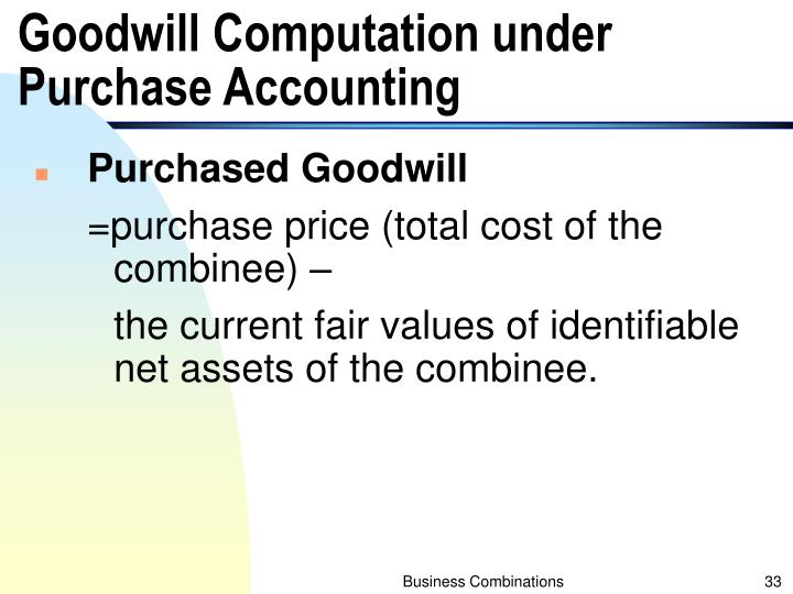 Goodwill Computation under Purchase Accounting