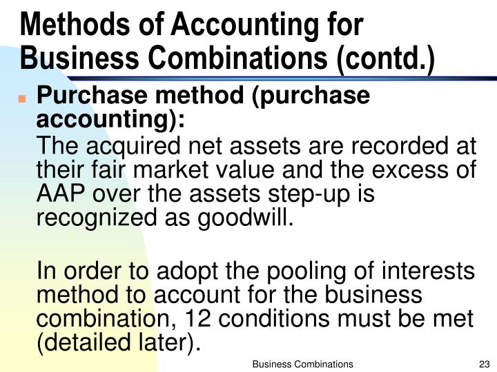 Methods of Accounting for Business Combinations (contd.)