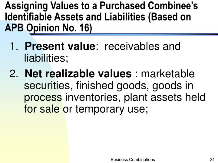 Assigning Values to a Purchased Combinee's Identifiable Assets and Liabilities (Based on APB Opinion No. 16)