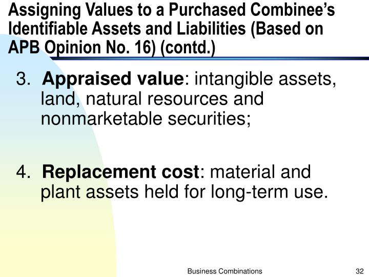 Assigning Values to a Purchased Combinee's Identifiable Assets and Liabilities (Based on APB Opinion No. 16) (contd.)