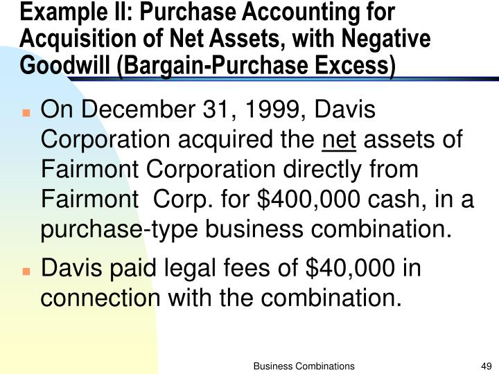 Example II: Purchase Accounting for Acquisition of Net Assets, with Negative Goodwill (Bargain-Purchase Excess)