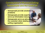 contributions of personal selling salespeople and the customer