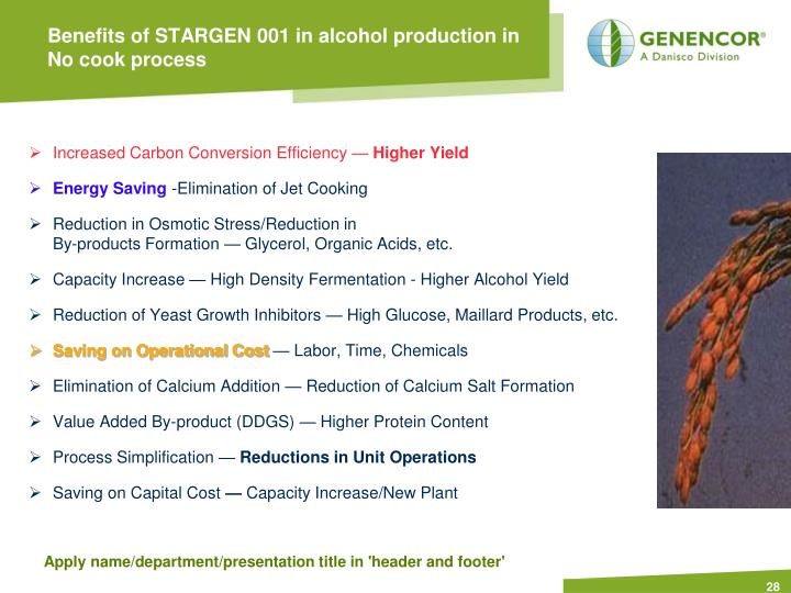 Benefits of STARGEN 001 in alcohol production in No cook process