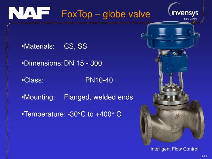 FoxTop – globe valve