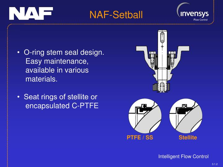 •  O-ring stem seal design. Easy maintenance, available in various materials.