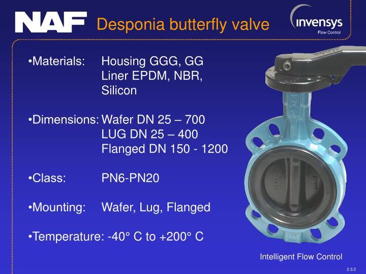Desponia butterfly valve