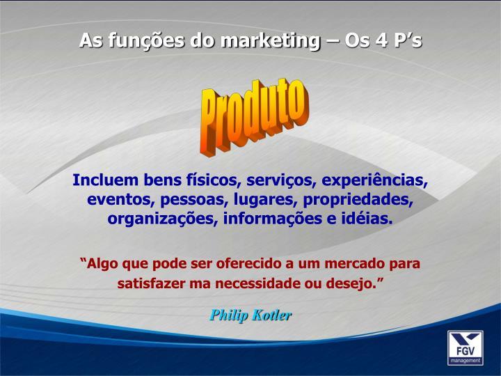 As funções do marketing – Os 4 P's