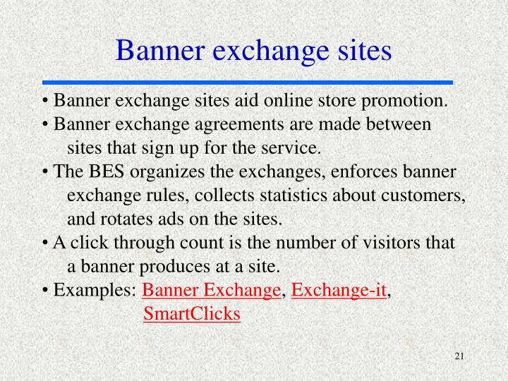 Banner exchange sites