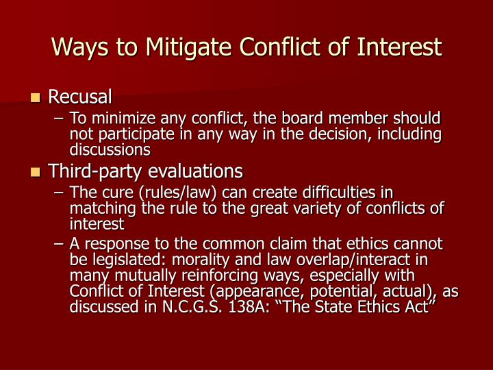 Ways to Mitigate Conflict of Interest