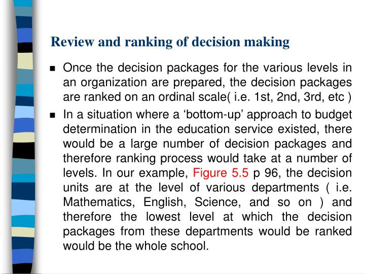 Review and ranking of decision making