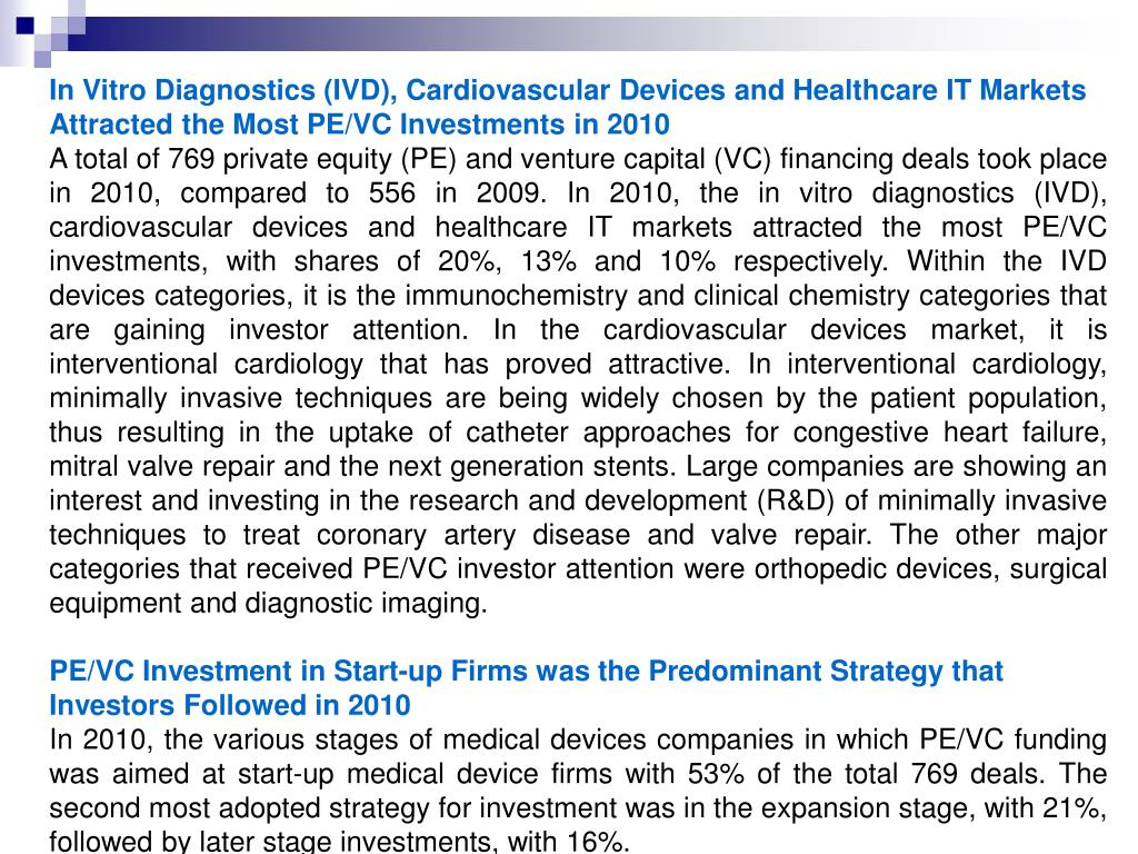 In Vitro Diagnostics (IVD), Cardiovascular Devices and Healthcare IT Markets Attracted the Most PE/VC Investments in 2010