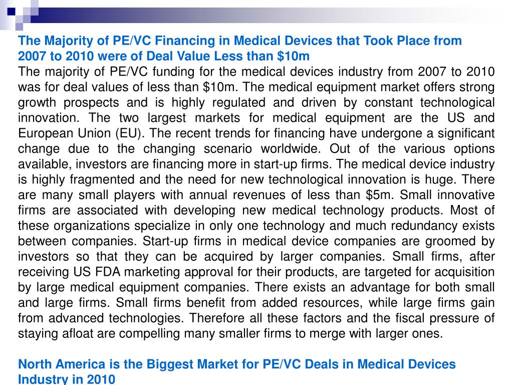 The Majority of PE/VC Financing in Medical Devices that Took Place from
