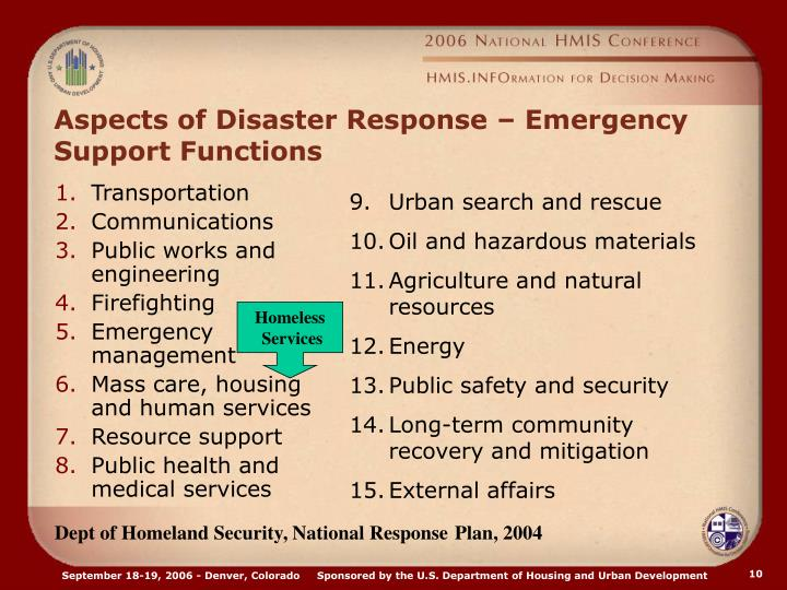 Aspects of Disaster Response – Emergency Support Functions