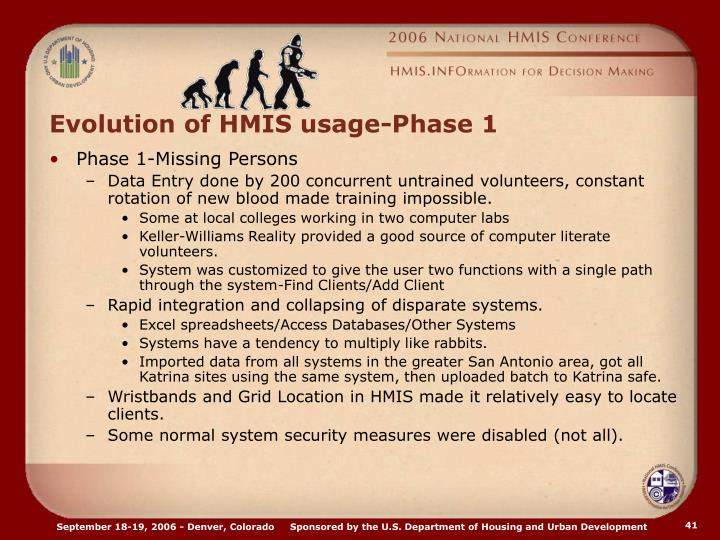 Evolution of HMIS usage-Phase 1
