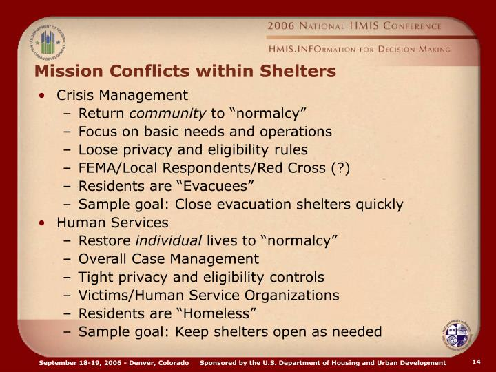 Mission Conflicts within Shelters