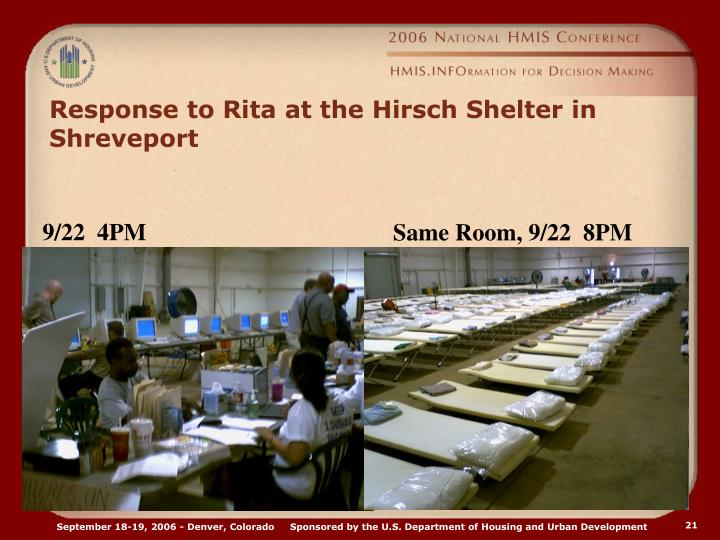 Response to Rita at the Hirsch Shelter in Shreveport
