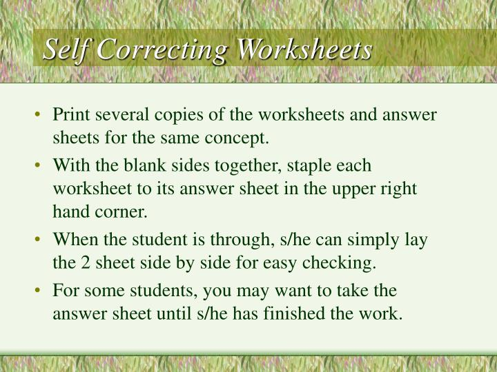 Self Correcting Worksheets