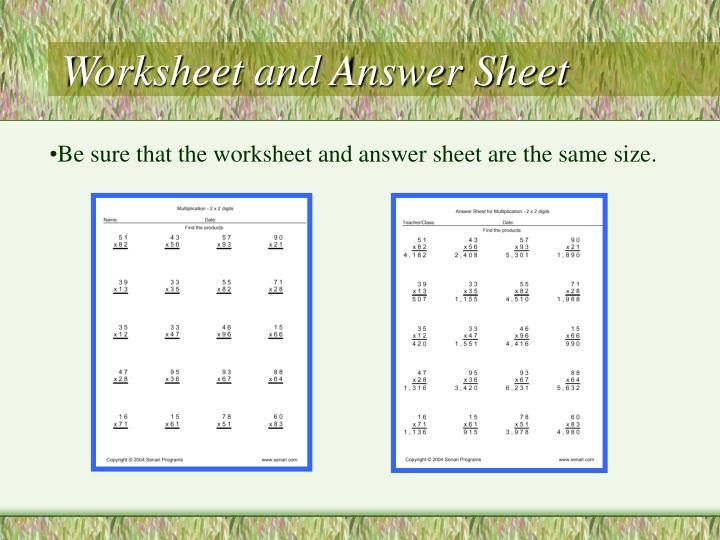 Worksheet and Answer Sheet