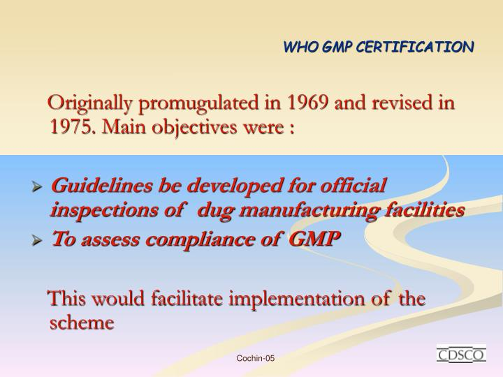Who gmp certification