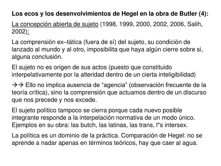 Los ecos y los desenvolvimientos de Hegel en la obra de Butler (4):