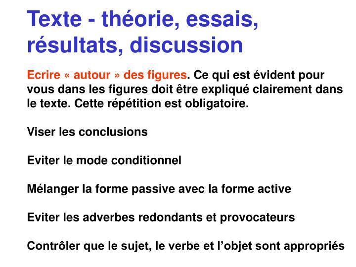 Texte - théorie, essais, résultats, discussion