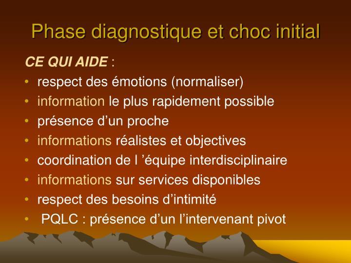 Phase diagnostique et choc initial