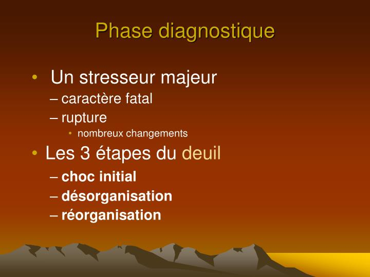 Phase diagnostique