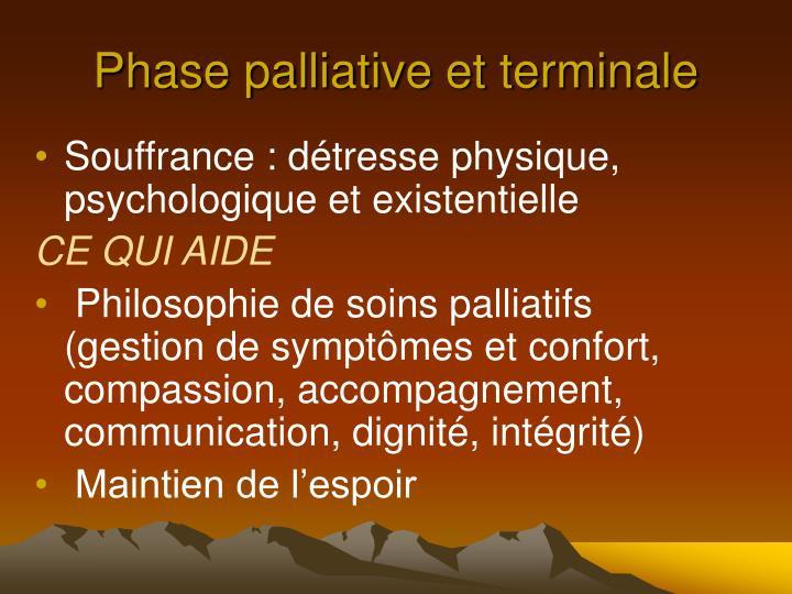 Phase palliative et terminale