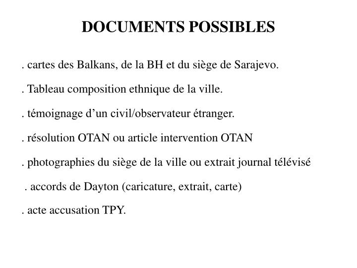 DOCUMENTS POSSIBLES