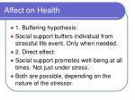 affect on health