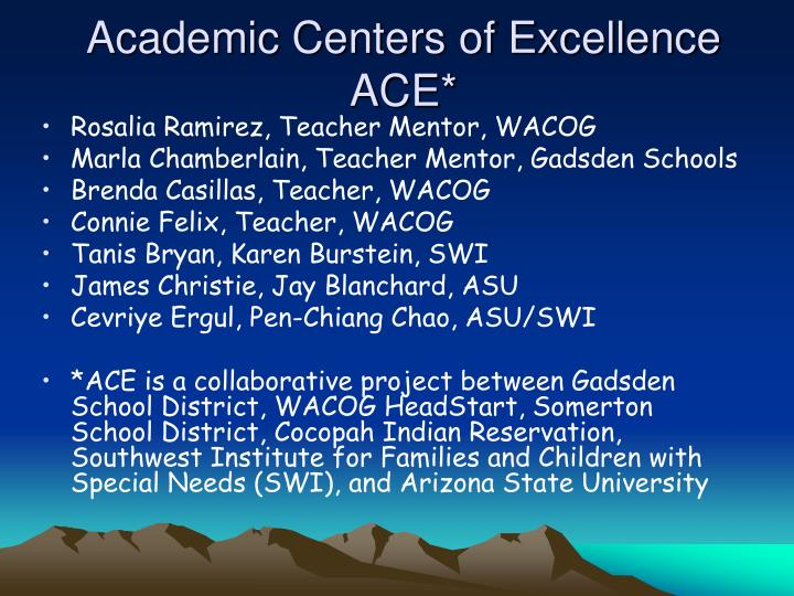 Academic Centers of Excellence
