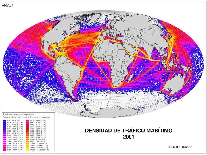 DENSIDAD DE TRÁFICO MARÍTIMO 2001