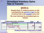 unrealized inventory gains year of transfer