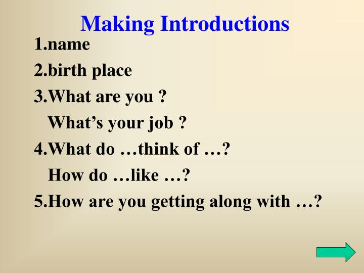 Making Introductions