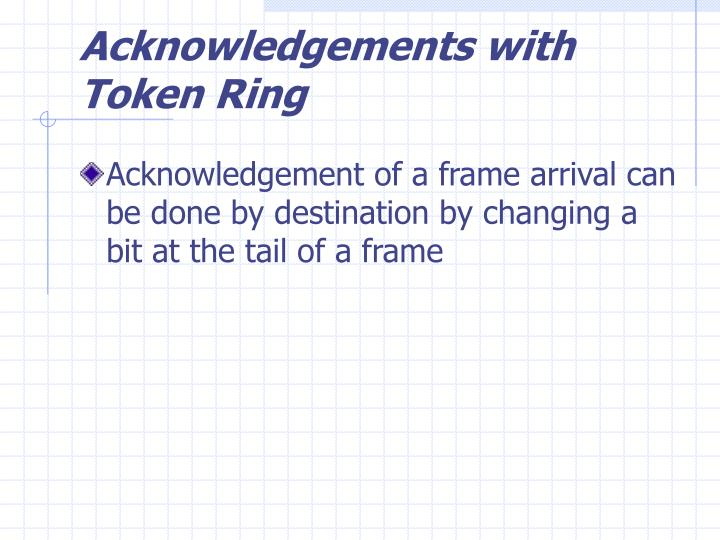 Acknowledgements with Token Ring