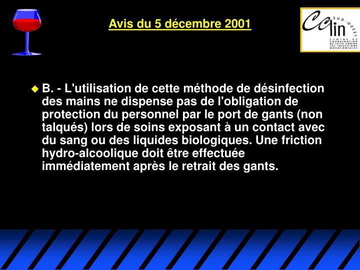 Avis du 5 décembre 2001