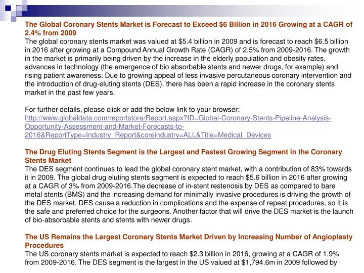 The Global Coronary Stents Market is Forecast to Exceed $6 Billion in 2016 Growing at a CAGR of 2.4%...