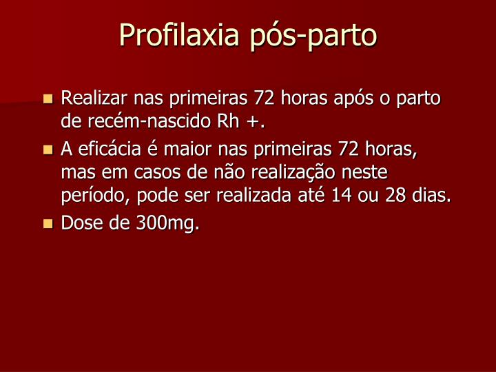 Profilaxia pós-parto